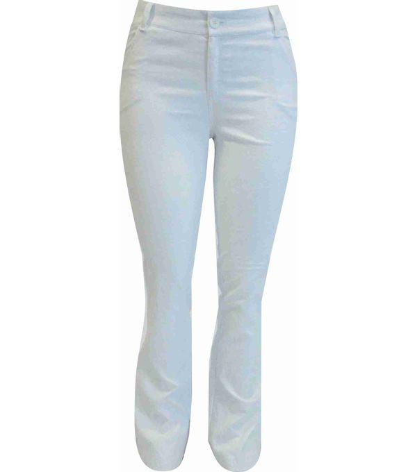 3bc069e19 Calça feminina de Sarja flare Branca - Pau a Pique