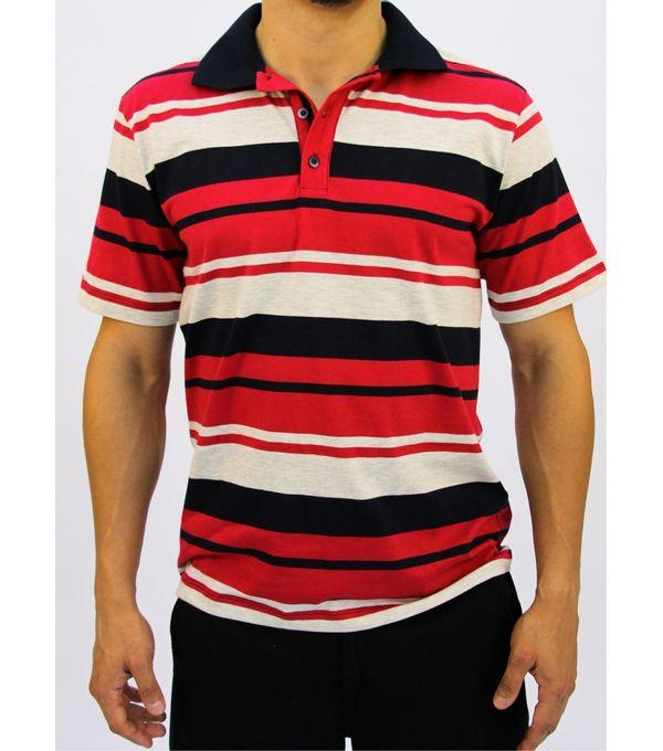 3db23ee30 Camisa polo listrada masculina - Pau a Pique