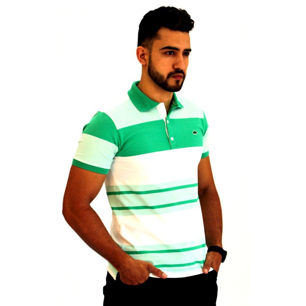 Camisa Polo Masculina Listrada Verde - Pau a Pique 28d86ac63d341