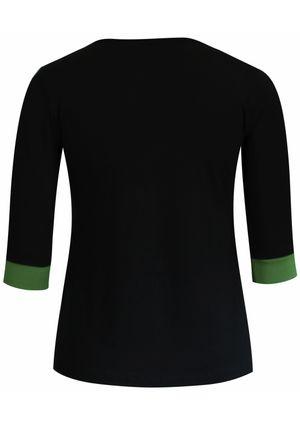 Blusa-3-4-em-malha-lisa-preto-com-recorte-verde 8079-VERDE-V