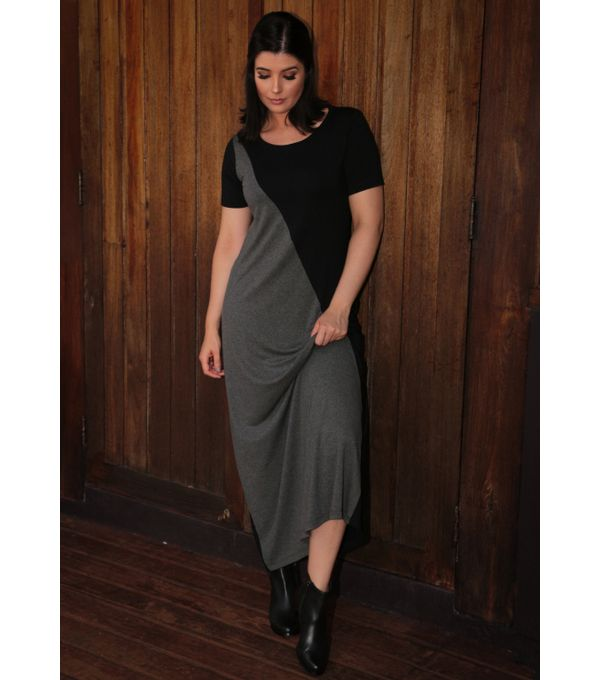 Vestido-longo-manga-curta-bicolor-viscolycra-pau-a-pique 8970-CHUMBO