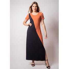 Vestido-longo-manga-curta-bicolor-viscolycra-pau-a-pique 8970-TELHA-F
