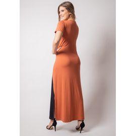 Vestido-longo-manga-curta-bicolor-viscolycra-pau-a-pique 8970-TELHA-V